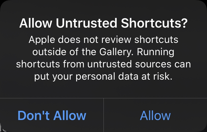Allow Untrusted Shortcuts?