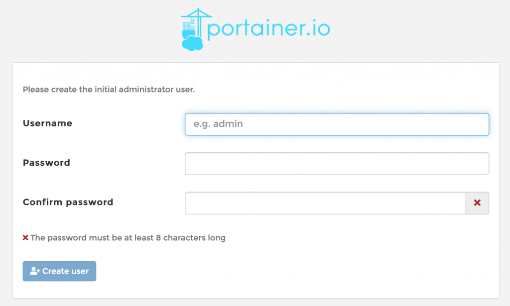 Portainer Create a User