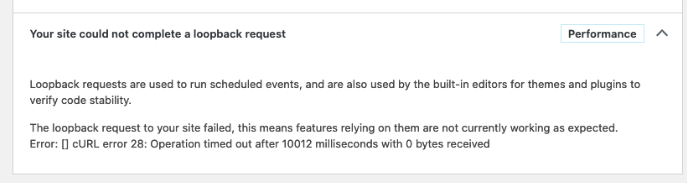 Wordpress Loopback Error in the Admin Dashboard