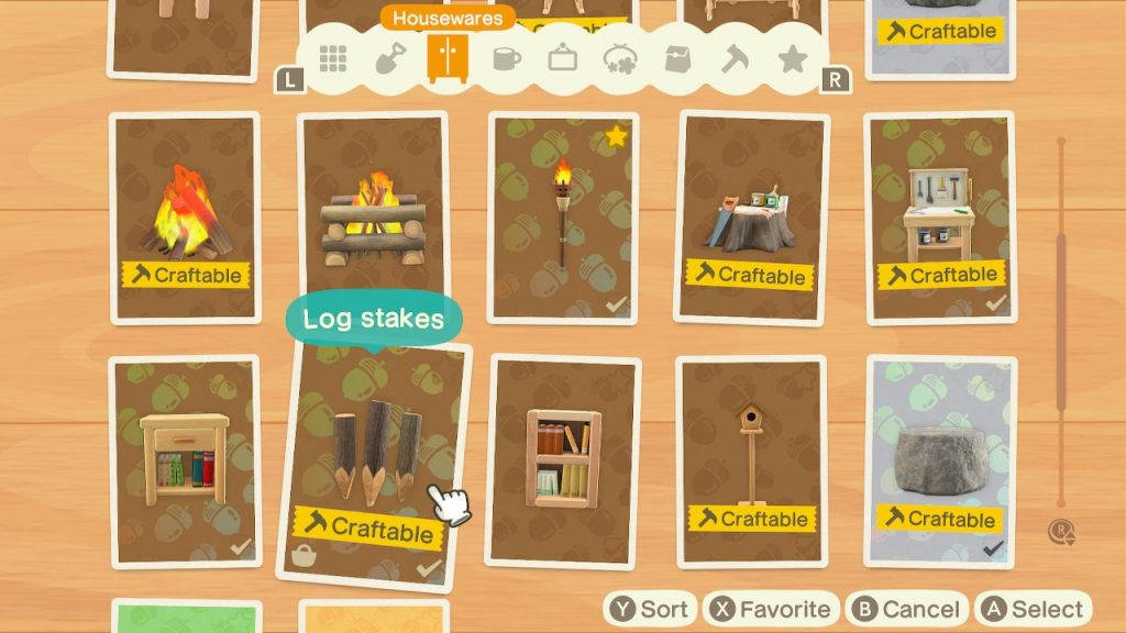 Craft Log Stakes in Animal Crossing